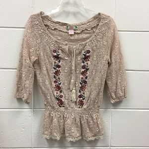 Flying Tomato Floral Lace Beige Top Embroidered